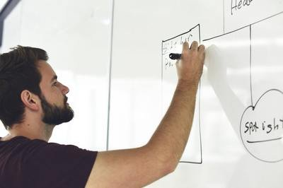 CRM requirements - man with whiteboard